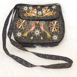 Vintage 60s Owl Embroidered Cloth Crossbody
